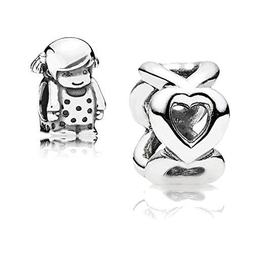 Original Pandora Geschenkset - 1 Silber Zwischenelement Offene Herzen 790454 und 1 Silber Charm Kleines Mädchen 791531