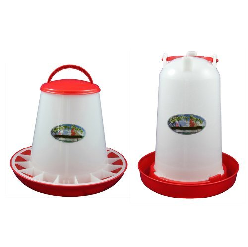 3 Litre Economy Drinker and 3kg Economy Feeder Red and White Set Test