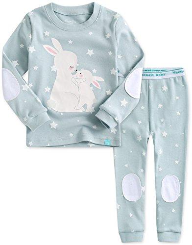 Kinder Maedchen Langarm zweiteilig Schlafanzug Pajamas 2pcs Set Blanc Rabbit L
