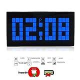 T Tocas(TM) Nouveau Digital numérique Grand chiffre LED Horloges Numérique Electronique Pendule murale de bureau / Horloges avec alarme, calendrier (Bleu foncé)