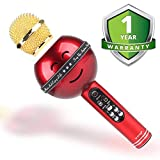 Amplec Wireless Portable Handheld Bluetooth Karaoke Microphone Compatible with Android & iOS Apple