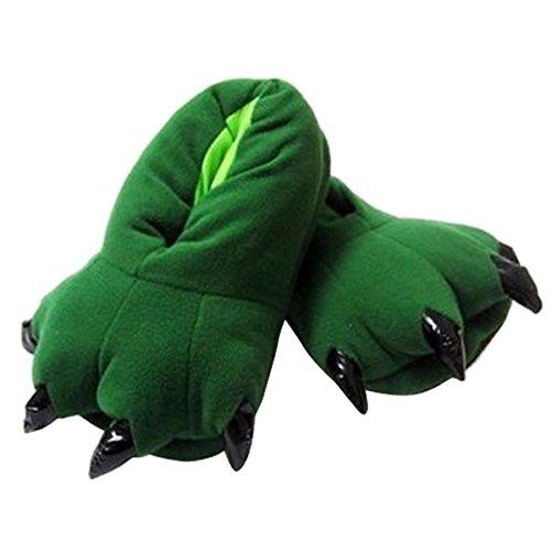 Aivtalk Damen Herren Flannel Schuhe Unisex Winter Hausschuhe Tier Cosplay Kostüme Zubehör Tierkostüme - Grün M für Größe 34-38