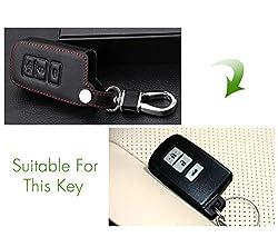 WHXHN Echtes Leder MännerAutoschlüsselTasche Hülle Schlüsselhalter, Für ToyotaPrado Land Camry Crown RAV4,3 Tasten Smart Key