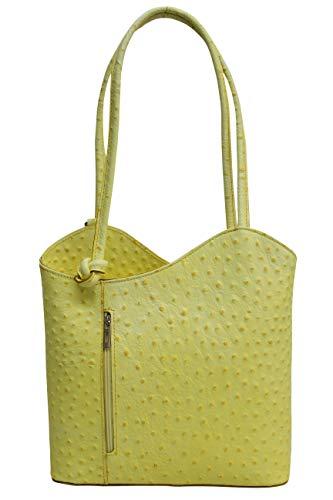 AMBRA Moda Damen Handtasche Lederrucksack Rucksacktasche Backpack 2in1 Rucksack Schultertasche SL703 (Gelb)