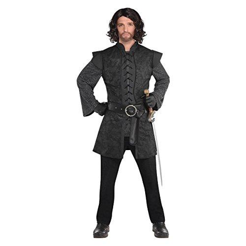 Mens Medieval style Black Knight Tunic Renaissance Jerkin Fancy Dress Accessory M - Medieval Black Knight Kostüm