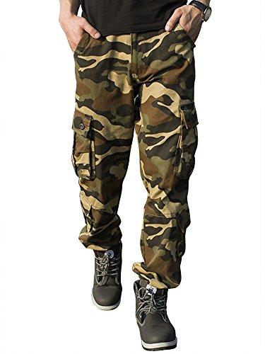 Cargohose Herren Arbeitshose Stretch cargo pants loose casual mit Mehrere Tasche Camouflage Sport,Arbeit,Freizeit Gelb