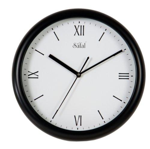 Safal Wooden Wall Clock (28cm x 28cm, Black)