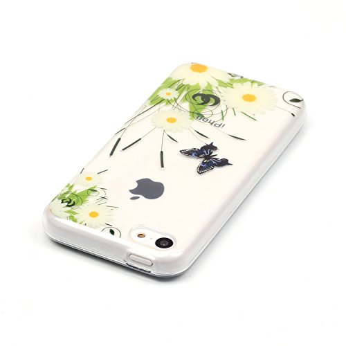 E-Lush Ananas Muster TPU Hülle für Apple iPhone 5C [Kratzfeste, Scratch-Resistant] Weiche Silikon Handyhülle Clear Transparent Tasche Ultra Dünne Schutzhülle Durchsichtig Rückschale Etui Bumper Case C Weiße Chrysanthemen