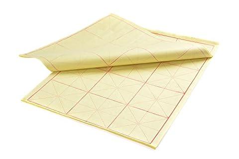 Kalligraphie Papier mit Führungslinien, 4K, 3 x 4 Felder = 12 Felder, 42cm x 32cm, 70 Blatt, gelb, Mod. XZMG-4K-12