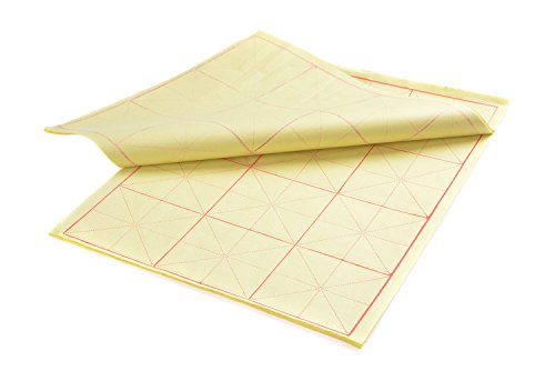 Kalligraphie Papier mit Führungslinien, 4K, 3 x 4 Felder = 12 Felder, 42cm x 32cm, 70 Blatt, gelb,...