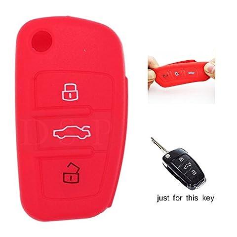 muchkey Silikon KFZ Schlüssel Cover Case Skin Jacket Fit für Audi A3A4Cabriolet A6Allroad Q7R8RS4S6TT 3Knopf-Fernbedienung Shell 1New