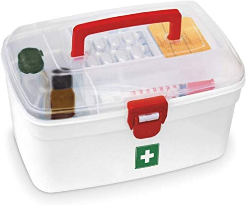 Milton Medicine Box, Medical Box, First aid Box, Multi Purpose Box, Multi Utility Storage with Handle (White) (Pack of 1)