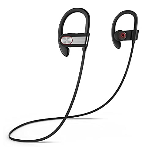 Sports Bluetooth Headset,Coio Bluetooth 4.1 Wireless Stereo Earphones Noise Cancelling Headset Sweatproof Sports Bluetooth Headset for Gym,Exercise,Sports,Running and Outdoor Activities (Black-Silver)