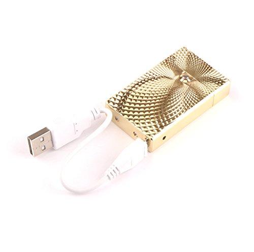 DROK USB Aufladbare Elektronische Feuerzeug Flammenlose Zigarette Zigarettenanz&uumlnder Kein Gas Windundurchl&aumlssig (Diamant Stil)