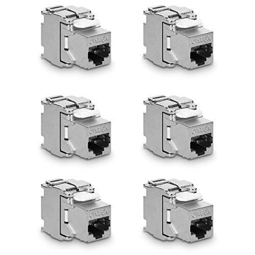 kwmobile 6X Keystone Modul für CAT 6A Kabel - 10 Gbit/s geschirmt Metall Gehäuse Schnappverschluss - werkzeugfreier Anschluss an Modular Patchpanel