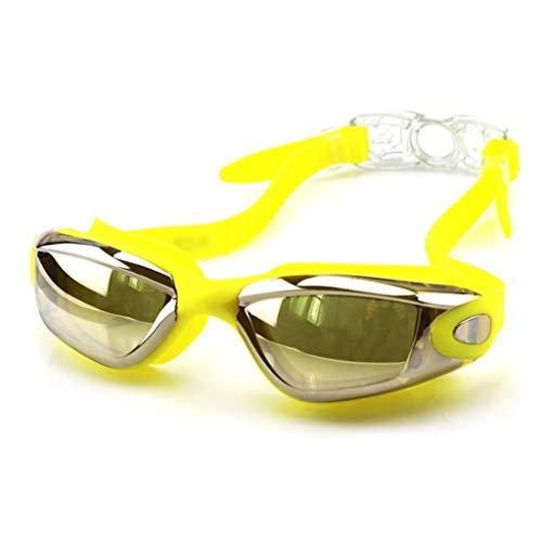 ZTMN Schwimmbrille Schutzbrille wasserdicht Anti-Fog-Brille Männer und Frauen Bademode Galvanik Schwimmbrille (Farbe: Gelb)