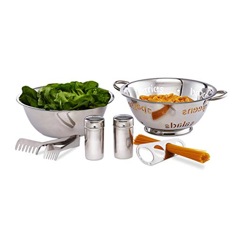 Relaxdays Pasta Set, 6 Pieces, Serving Bowl, Strainer, Pasta Tongs, 2 Spice Shakers, Spaghetti Scoop, Stainless Steel, Silver