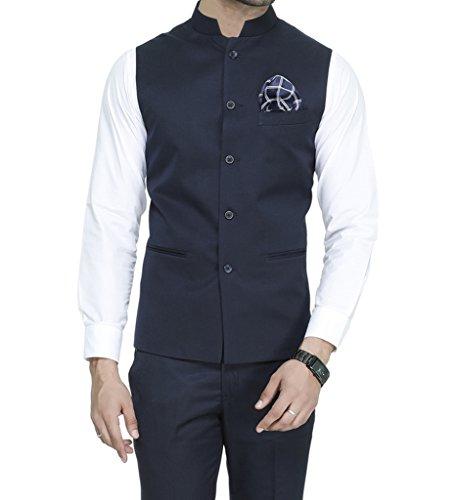 ManQ Men's Band Collar Slim Fit Formal/Party Waist coat (S1)