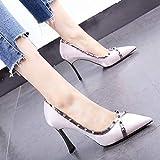HOESCZS Satin Damenschuhe 19 Frühjahr Neue Kleid Schuhe spitz Mode Nieten dick mit High Heels Wilde einzelne Schuhe,37,Nude pink