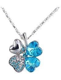 FENICAL Collar de trébol de Cuatro Hojas con Cristales en Forma de corazón, Collar de Cadena de pedrería para el Día de San Patricio (Azul Marino)