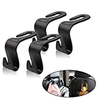 Universal Vehicle Car Backseat Headrest Hanger Storage Organizer-Strong and Deep Enough for Handbags, Purses, Coats, and Grocery Bags, Bottle Holder