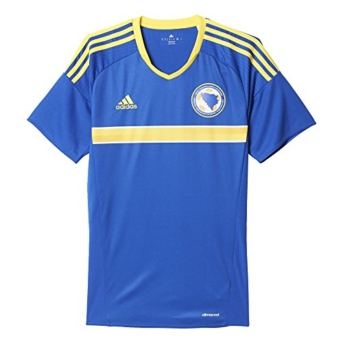 adidas Herren Bosnien Herzegowina Heimtrikot Replica Kurzarm, Bold Blue/Bright Yellow, L (Frankreich Langarm Fußball-trikot)