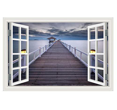 Handtuch 3D 3D Fenster Holzbrücke Mehr Sonnenuntergang, Schöne Landschaft Tapete, Wohnkultur Wandbilder Art Pvc Pvc Fensterladen 60X90 Cm -