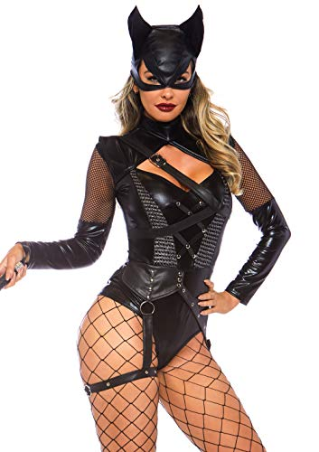 Leg Avenue 8675903001 2 teilig Set Villainess Vixen, Damen Karneval Kostüm Fasching, Schwarz, Größe L (EUR 42-44)