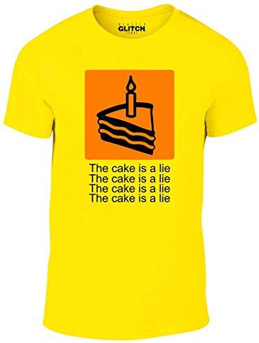 Reality Glitch Herren The Cake is A Lie T-Shirt (Gelb, Mittel) (Branchen Gelben T-shirt)