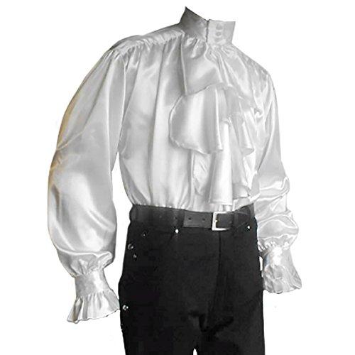 Camicia in raso con balze - Accessorio per travestimento -Per uomo - Camicia medievale - Per eventi LARP o GdR - Bianco - XL