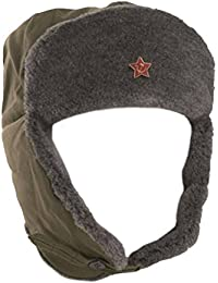 Véritable URSS armée russ'a Soldier-- - Olive-Union soviétique d'hiver avec chapeau de trappeur Ushanka Bonnet gris en fausse fourrure avec écusson étoile rouge-utilisée