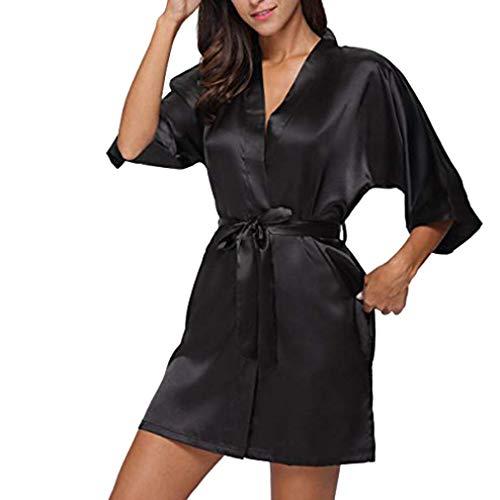Strung Damen Morgenmantel Kimono Satin Kurz Robe Bademantel Nachtwäsche Sleepwear V Ausschnitt mit Gürtel Frauen Schlafanzug Unterwäsche Sexy Pyjama Reizvolle Lingerie Pyjama (Schwarz,S)
