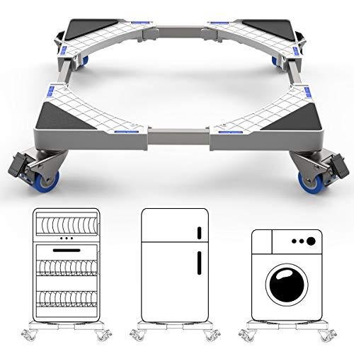 DEWEL Podeste & Rahmen für Waschmaschinen mit Schwenkräder, Verstellbare Kühlschrank Sockel Untergestell mit für Trockner, Waschmaschine und Kühlschrank(42-69cm)