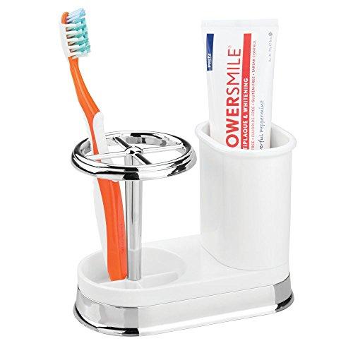MetroDecor mDesign Porta spazzolini – Bicchiere portaspazzolini di Alta qualità in plastica con Accenti cromati – Ideale per conservare spazzolini da Denti sul lavandino – Bianco/Argento