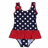YiZYiF Mädchen Badeanzug Süß Bademode für Kinder Baby Sommer Schwimmanzug Strandwear UV Shutz Polka Dots Tankini (62-68, Dunkel Marineblau)