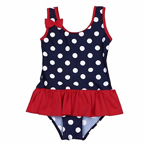 YiZYiF Säugling Baby - Mädchen Einteiler Badeanzug Badekleid Schwimmanzug UV-Schutz Von 0 Monate Bis 3 Jahre Alt Dunkel Marineblau 0-3 (Alt Jahr 1 Badeanzug)