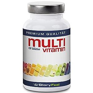 Multivitamin Tabletten Hochdosiert - 450 Vegane Vitamin-Tabletten - Alle Wertvollen A-Z Vitamine und Mineralstoffe in einer Tablette - 15 Monate Vitamin-Versorgung - Nahrugsergänzung von GlroyFeel