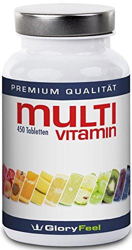 Multivitamin 450 Tabletten Hochdosiert - Der VERGLEICHSSIEGER 2018* - 450 Vegane Vitamin-Tabletten - Alle Wertvollen A-Z Vitamine und Mineralstoffe in einer Tablette - 15 Monate Vitamin-Versorgung - Nahrungsergänzung von GloryFeel