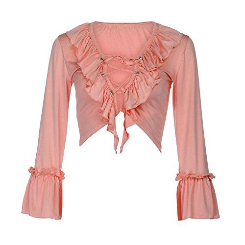 Vovotrade® Damen Sommer Tops Langarm TShirt Bandage Crop Tops Bluse TShirt  Rosa