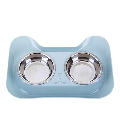 CBB Hundenäpfe mit Silikonkassette ohne Spill Doppelte Edelstahlnäpfe mit Knochenform Rutschfeste Matte Zusammenklappbar Abnehmbare Hundefutter-Wassernapf für kleine Hunde (Farbe : Blau)