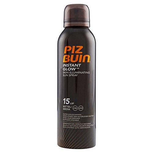 PIZ BUIN Instant Glow Skin Illuminating Sun Spray LSF 15/Wasserfestes Sonnenschutz Spray mit zartem Goldschimmer Effekt/Nicht fettend/150ml - Geheimnis Schimmer
