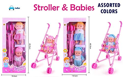 FunBlast Stroller with Doll, Real Moving Stroller Toy for Kids, Pretend Play Toy Set (Random Color Dispatch)