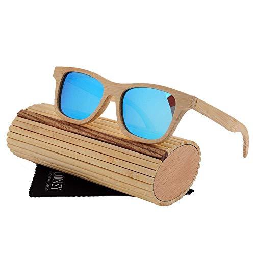 MXHSX Sonnenbrille Polarisierend, UV400 Bambus Sonnenbrille Leichte handgefertigte Brille, als Geschenk für Freunde und Verwandte für Mann und Frau, Reisen, Sport und Outdoor-Aktivitäten (Farbe: C.