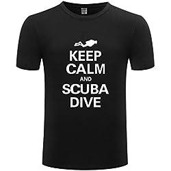 Générique Premium Noir Coton Unisexe Hommes Femmes T-Shirt Tops Pour Plongée Sous-marine Plongée Plongée En Apnée S-3XL - Noir, M