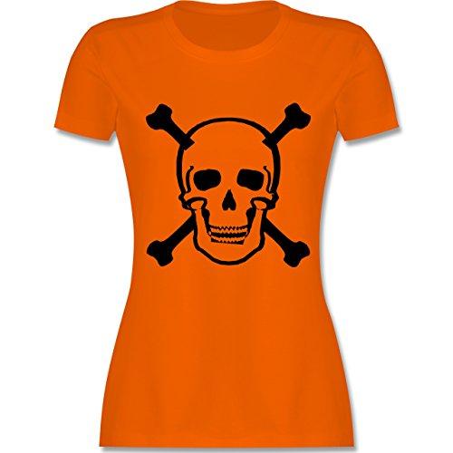 Piraten & Totenkopf - Totenkopf - tailliertes Premium T-Shirt mit Rundhalsausschnitt für Damen Orange