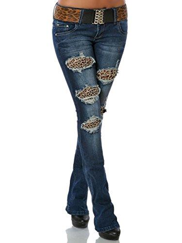 Damen Schlag-Jeans Bootcut Hose Schlaghose inkl. Gürtel No 15810, Farbe:Blau, Größe:S / 36