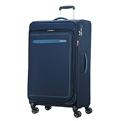 American Tourister Airbeat – Spinner 80/30 Expandable Equipaje de mano, 80 cm, 112 liters, Azul (True Navy)