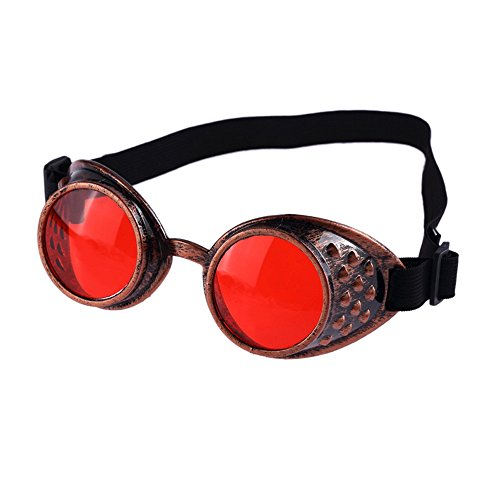 iLOP Steampunk Antique Copper Cyber Goggles Rave Goth Vintage Victorian Like Sunglasses See All Pictures Goggles Studs Weinlese-Art Steampunk Goggles Welding Punk Brillen(One size,X-Rot)