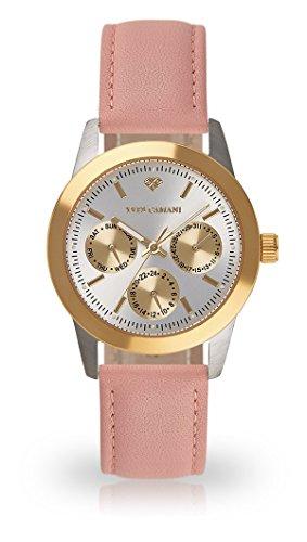 Yves Camani madelaine Montre bracelet Femme analogique quartz Boîtier Acier Inoxydable d'or argent Graduation Cadran yc1100-A de 750(cuir, rose)