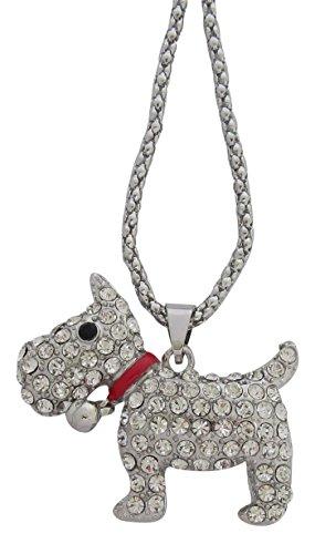 Pick a Gem Silber mit Kristall Scottish Terrier Chunky Halskette Scotty Hund Scottie Hund Cairn Westie Hund in Geschenkverpackung -